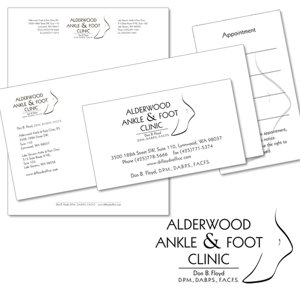 Alderwood Ankle and Foot Clinic Logo, letterhead and business card/appointment card