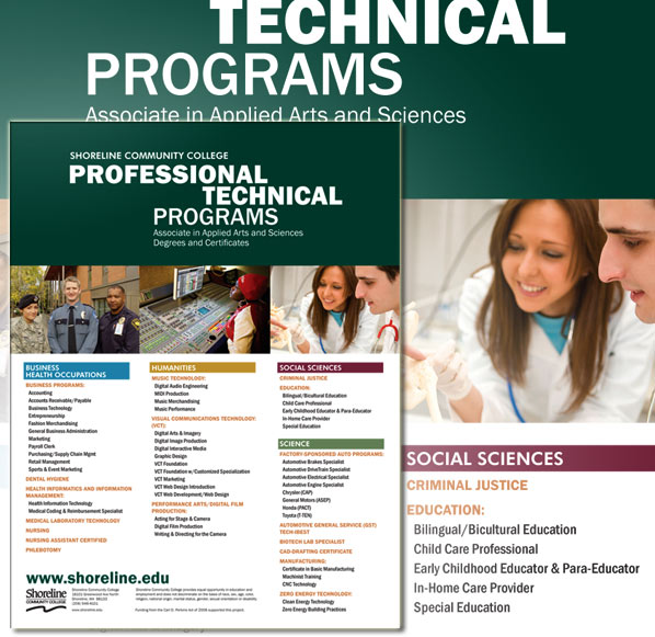 Poster listing Professional Technical programs at Shoreline Community College